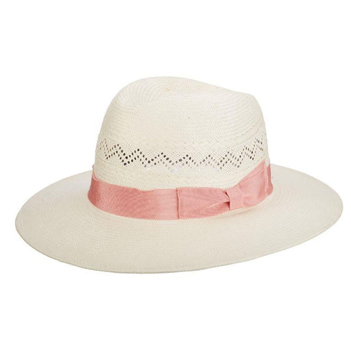 Bel Air White Panama Hat with Pink Bow - Brooklyn Hat Co