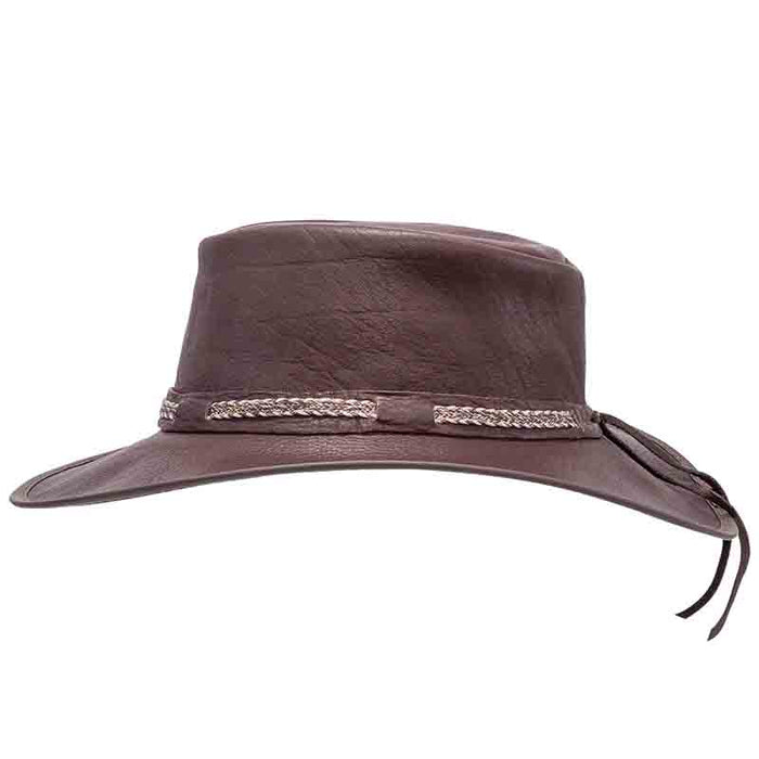 Head'n Home Bison Buffalo Leather Aussie Outback Hat up to XXL- Brown