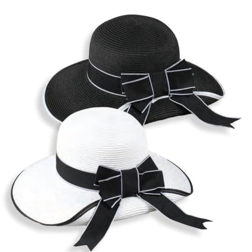 Black and White Pinned Up Brim Sun Hat - Jeanne Simmons Hats