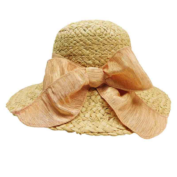 acd305301 Braided Raffia Sun Hat with Metallic Chiffon Bow - Santa Rosa Cappelli
