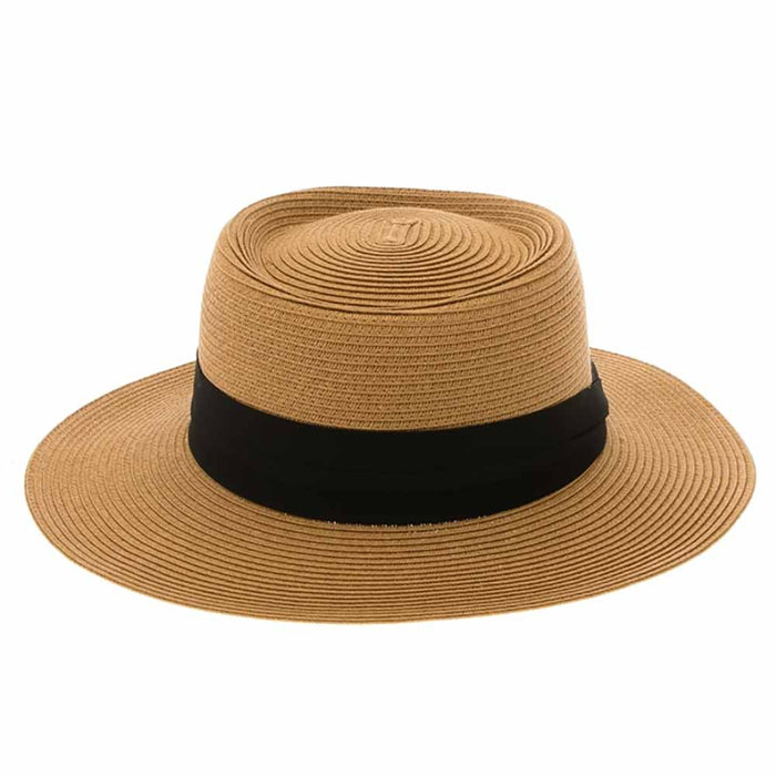 Elegant Straw Boater Hat with 3-Pleat Band - Boardwalk Style