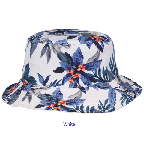 Reversible Floral Print-Solid Color Bucket Hat