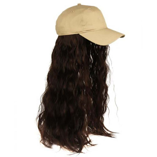Baseball Cap with Hair Extension - Khaki