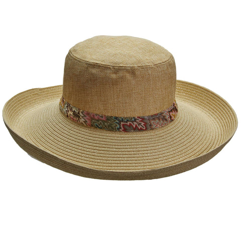Upturned Brim Linen Crown Summer Hat by Callanan