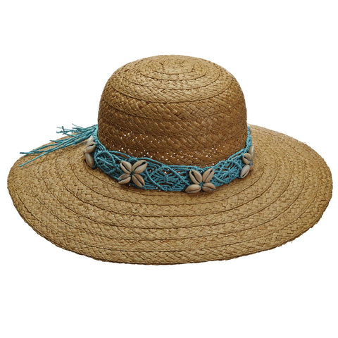 Shell Trim Raffia Capeline Summer Hat by Callanan