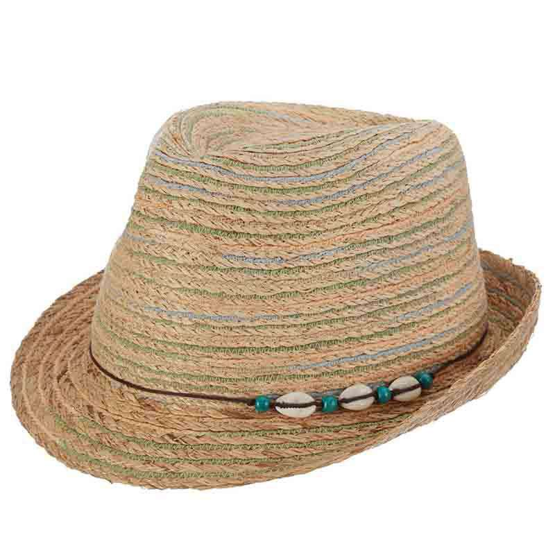 Multi Color Striped Raffia Fedora by Callanan
