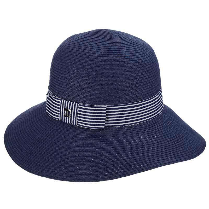 Shapeable Brim Cloche with Navy and White Striped Band by Callanan
