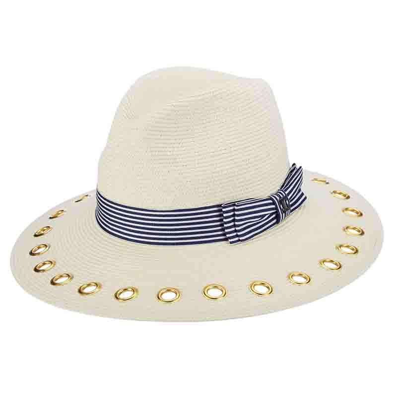 Nautical Stripe Band Safari Hat with Gold Grommets - John Callanan