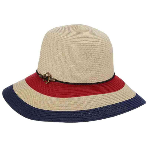 Striped Nautical Big Brim Hat with Rope and Anchor