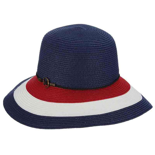 Striped Nautical Big Brim Hat with Rope and Anchor - Callanan Handmade Hats