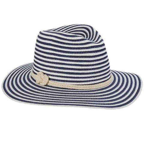 Nautical Stripe Fedora with Double Eight Knot Tie - John Callanan