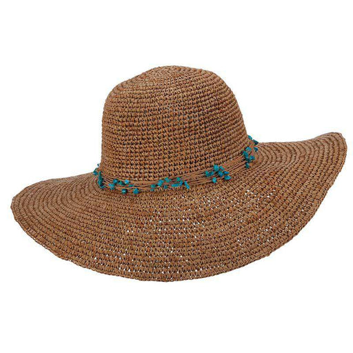 Crocheted Raffia Sun Hat with Turquoise Beads - Callanan Handmade - SetarTrading Hats