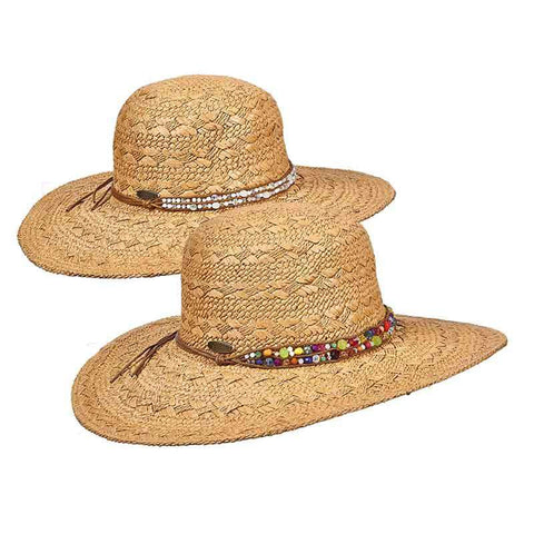 Straw Sun Hat with Beaded Leatherette Band -Cappelli Straworld