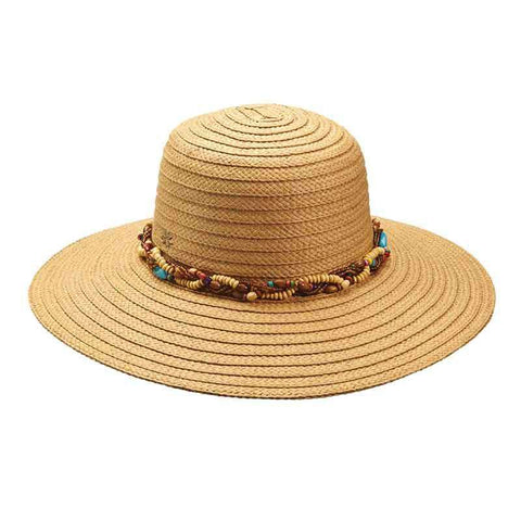 Woven  Summer Floppy Hat with Beads by Cappelli Straworld