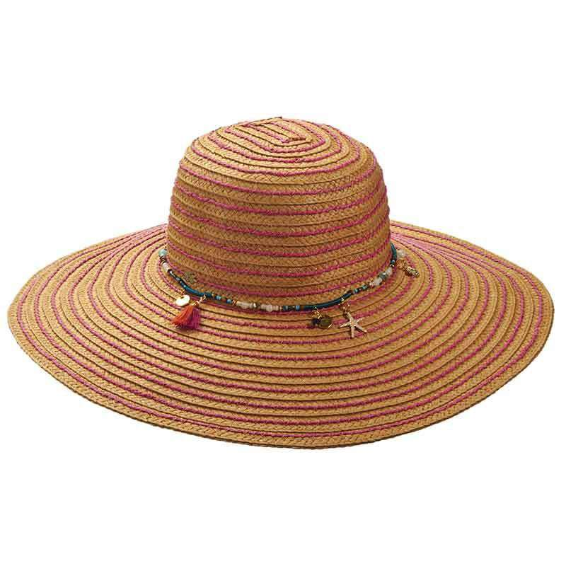3d4f01c2002 Straw Floppy Hat with Beads and Charms by Cappelli Straworld