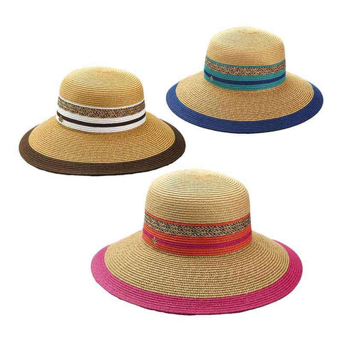Multicolor Striped Big Brim Hat by Cappelli Straworld