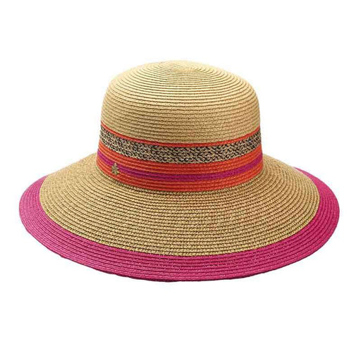 Multicolor Striped Big Brim Hat by Cappelli Straworld - SetarTrading Hats