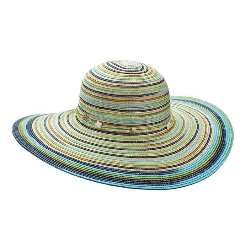 Multicolor Striped Summer Floppy Hat by Cappelli Straworld - SetarTrading Hats