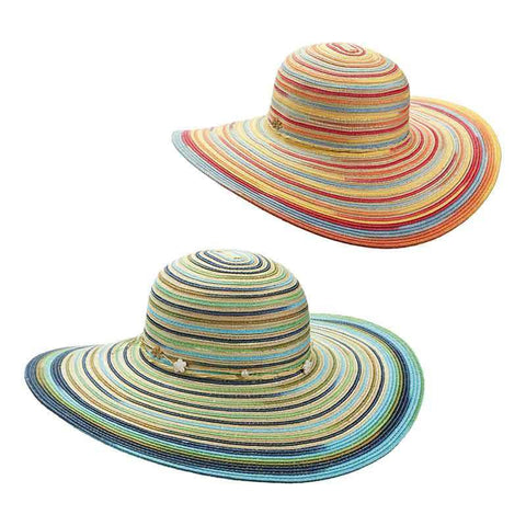 Multicolor Striped Summer Floppy Hat by Cappelli Straworld