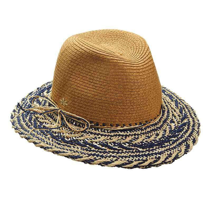 Crocheted Two Tone Brim Safari Hat by Cappelli Straworld - SetarTrading Hats
