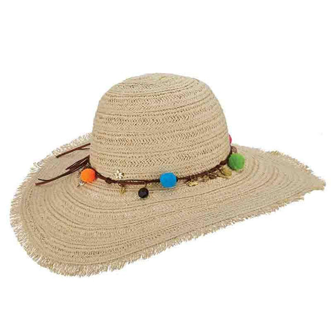 Milani Braid Beach Hat with Charms and Pom Poms-Cappelli Straworld