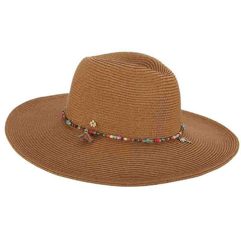 Wide Brim Safari Hat with Beads - Cappelli Straworld