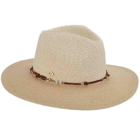 Beaded Leatherette Tie Safari Hat - Cappelli Straworld