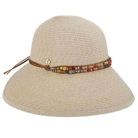 Butterfly Split Brim Sun Hat with Bead Band - Cappelli Straworld