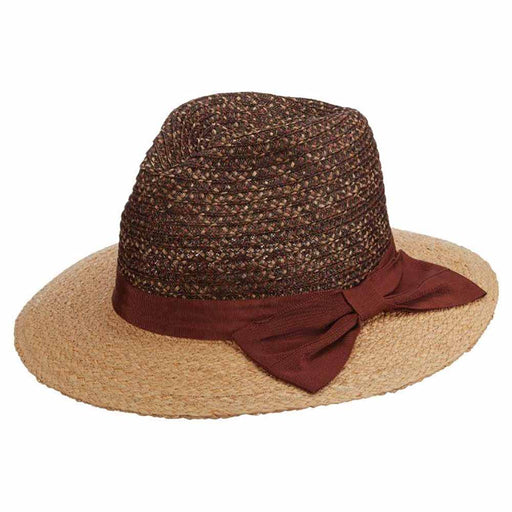 Calabria Braided Viscose Fedora with Raffia Brim - Brooklyn Hat Co