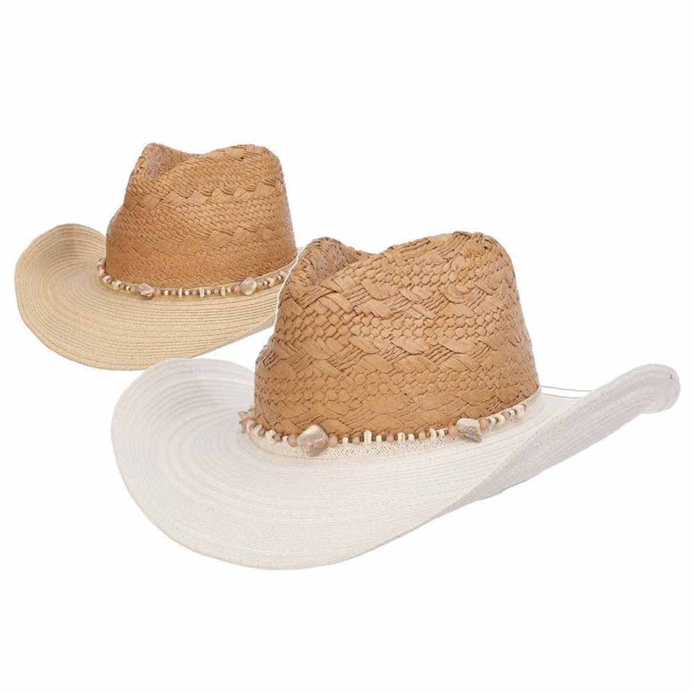 Caryne Toyo Straw Cowboy Hat with Contract Color Brim - Scala Hats