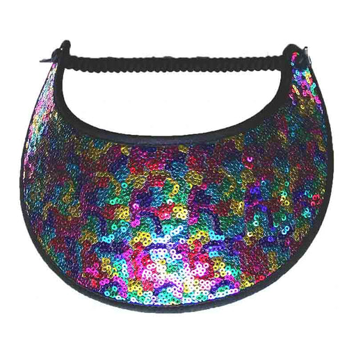 Colorful sequins covered miracle foam sun visor with trimmed edges SetarTrading
