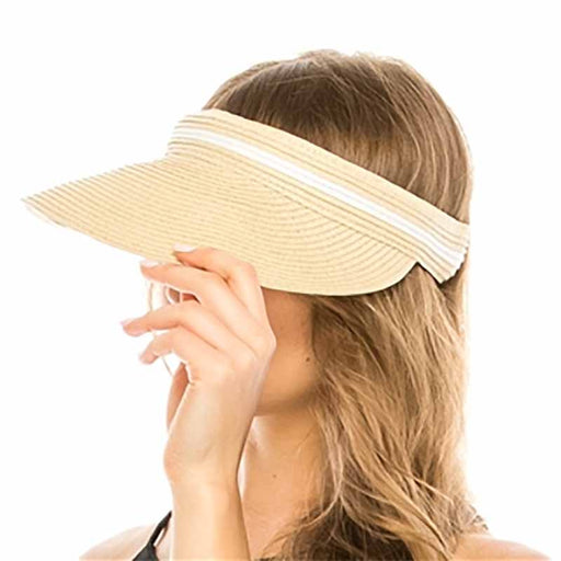 Comfortable Straw clip on sun visor for women upf50 sun protection beige with white stripe