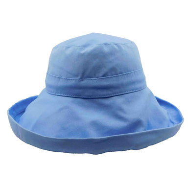 Soft, packable, shapeable brim cotton bucket hat for women for sun protection.