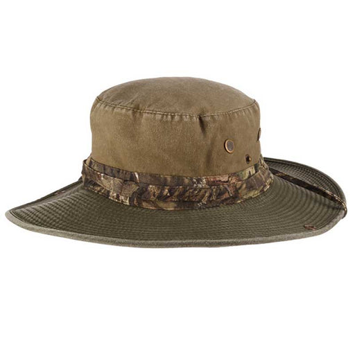 Cotton Boonie Country Camo Brim with Chin Strap - Mossy Oak Hats