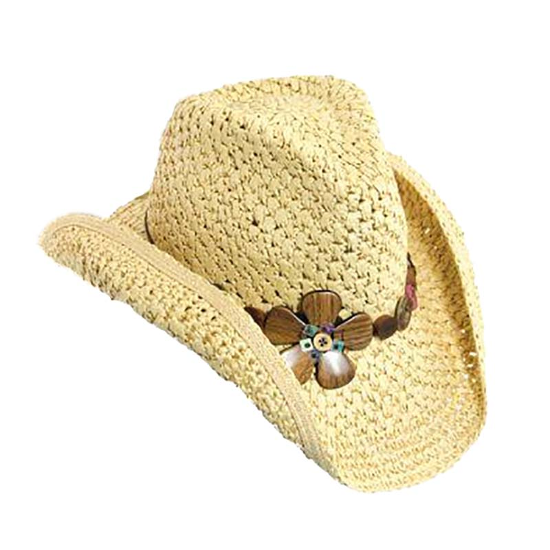 Crocheted Toyo Western Cowboy Hat with Wood Flower Accent - Scala Hats