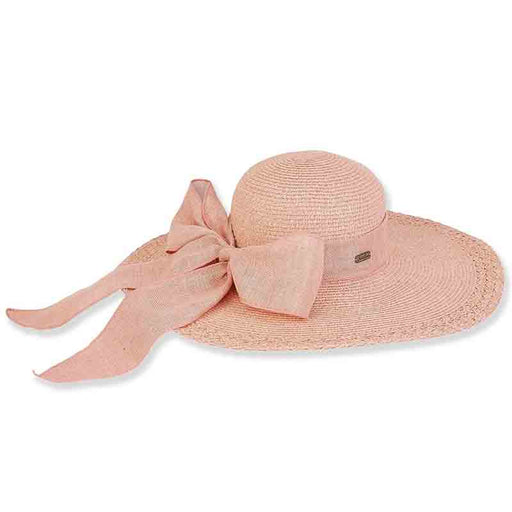 Cross Woven Floppy Hat with Sack Fabric Long Bow - Sun'N'Sand®