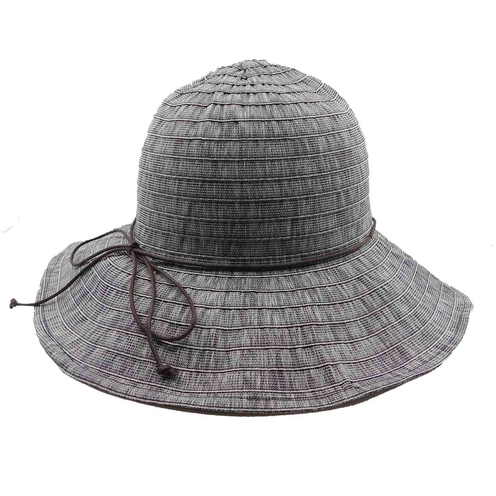 "Lightweight packable summer hat made for travel.  Flatten or roll into cone to pack into suitcase or bag.  Round crown.  Shapeable, wire edge brim, 3"" wide.  Faux leather tie.  Inner drawstring to adjust size."