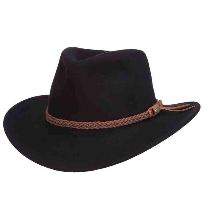 Black Crushable Wool Felt Outback Hats by Scala - SetarTrading Hats
