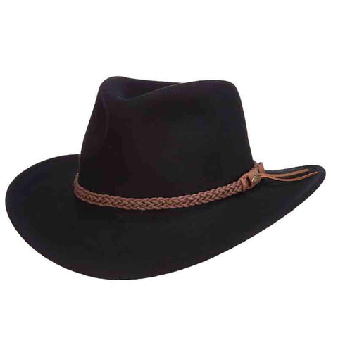 bef00d273823e Black Crushable Wool Felt Outback Hats by Scala