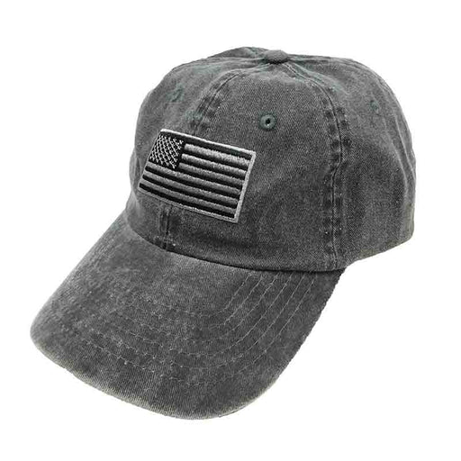 DPC Unstructured Cotton Denim Baseball Cap with Faded USA Flag black denim