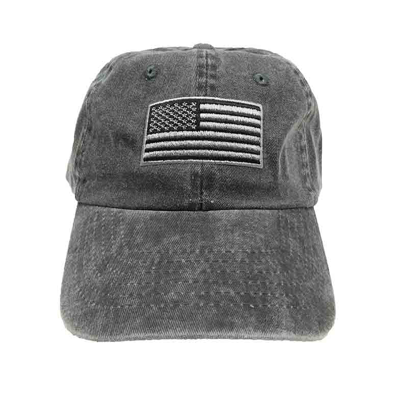DPC Unstructured Cotton Denim Baseball Cap with Faded USA Flag black