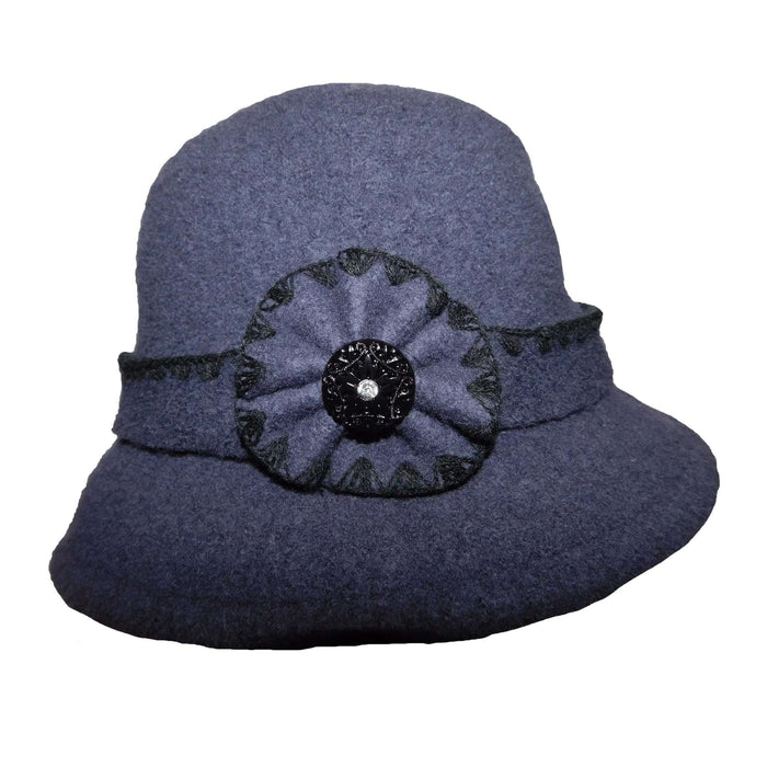 Boiled Wool Bucket Hat with Flower and Rhinestone Button - SetarTrading Hats