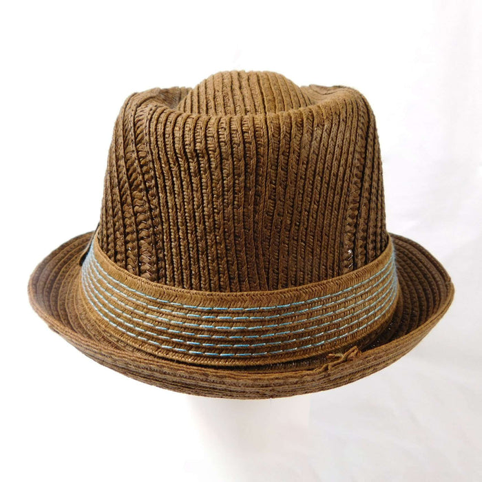 Fedora- Brown with Blue Stitched Band - SetarTrading Hats