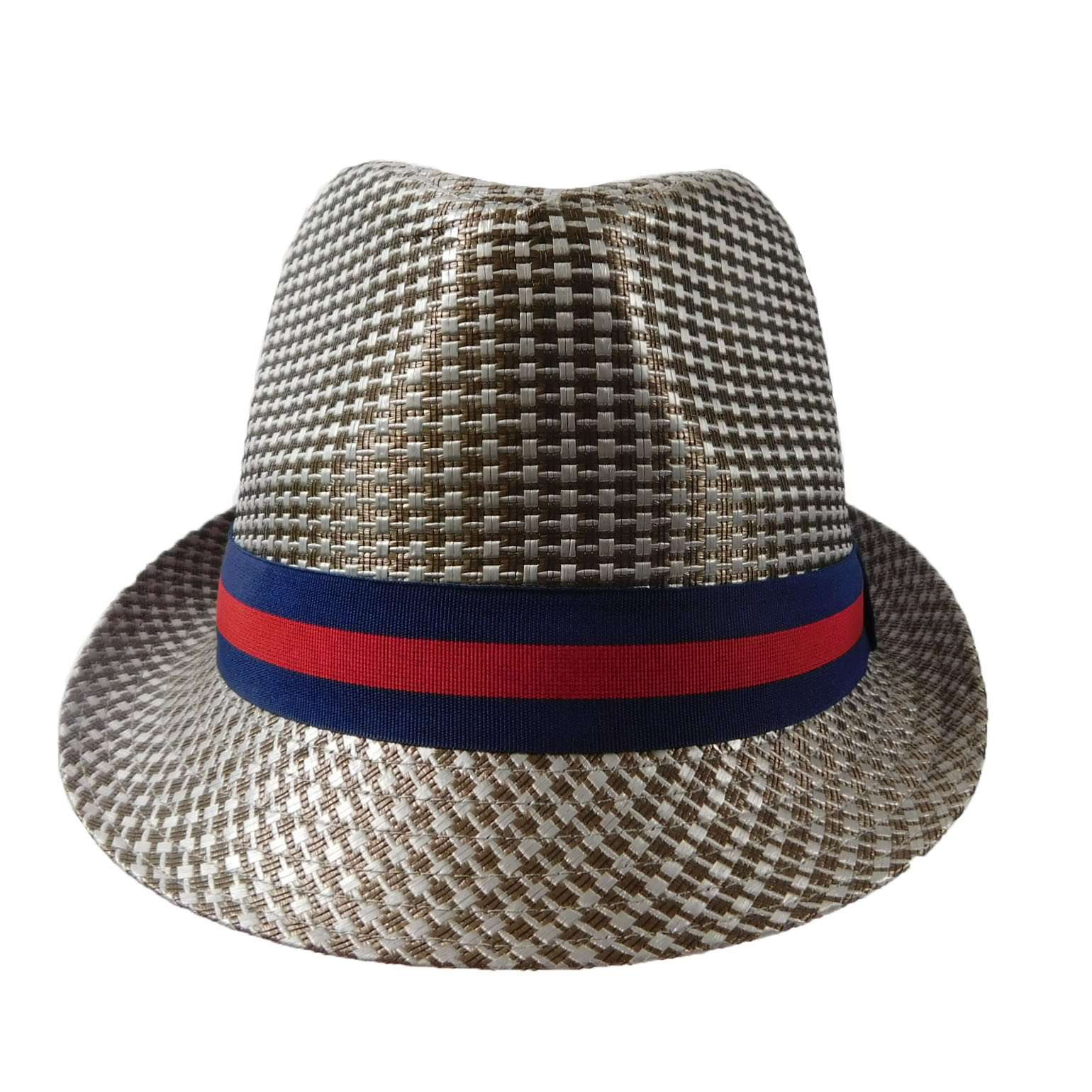 Fedora -Silver with Red and Navy Band - SetarTrading Hats