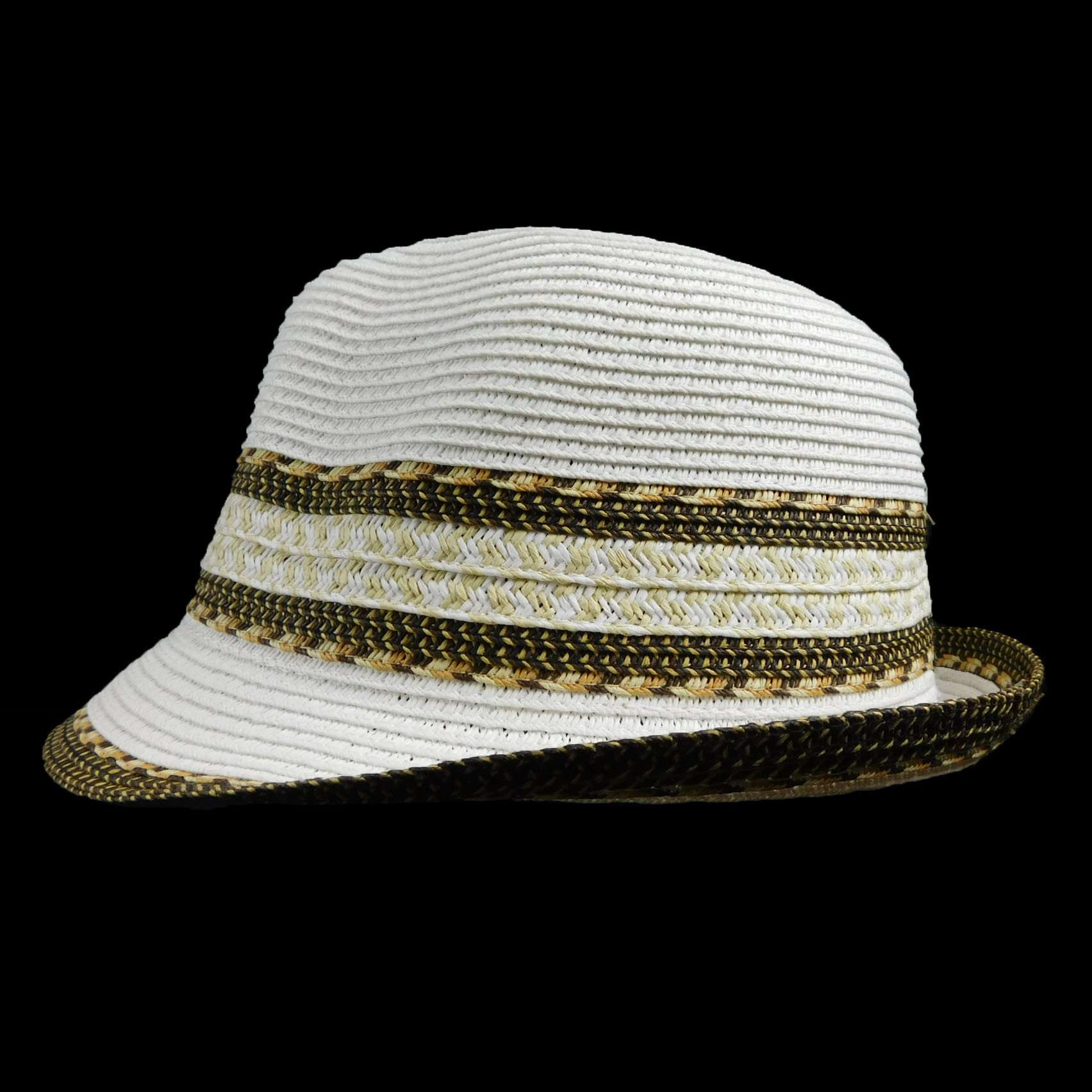 Fedora White with Southwest Motif - SetarTrading Hats