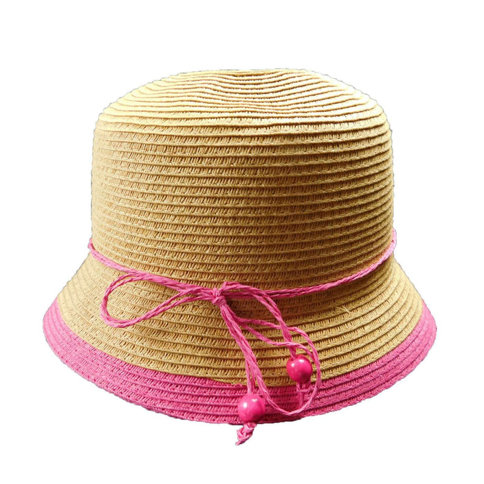 Straw Cloche with Bright Color Trim - SetarTrading Hats