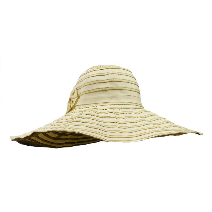 Ribbon Floppy Hat with Two Flowers - SetarTrading Hats