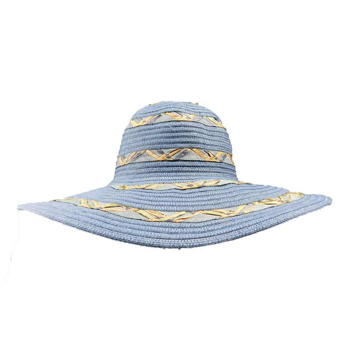 Metallic Blue Floppy Hat with Crochet Flower - SetarTrading Hats
