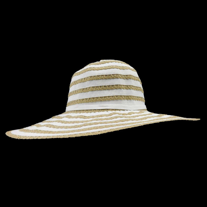 Ribbon and Crochet Stripe Sun Hat - SetarTrading Hats