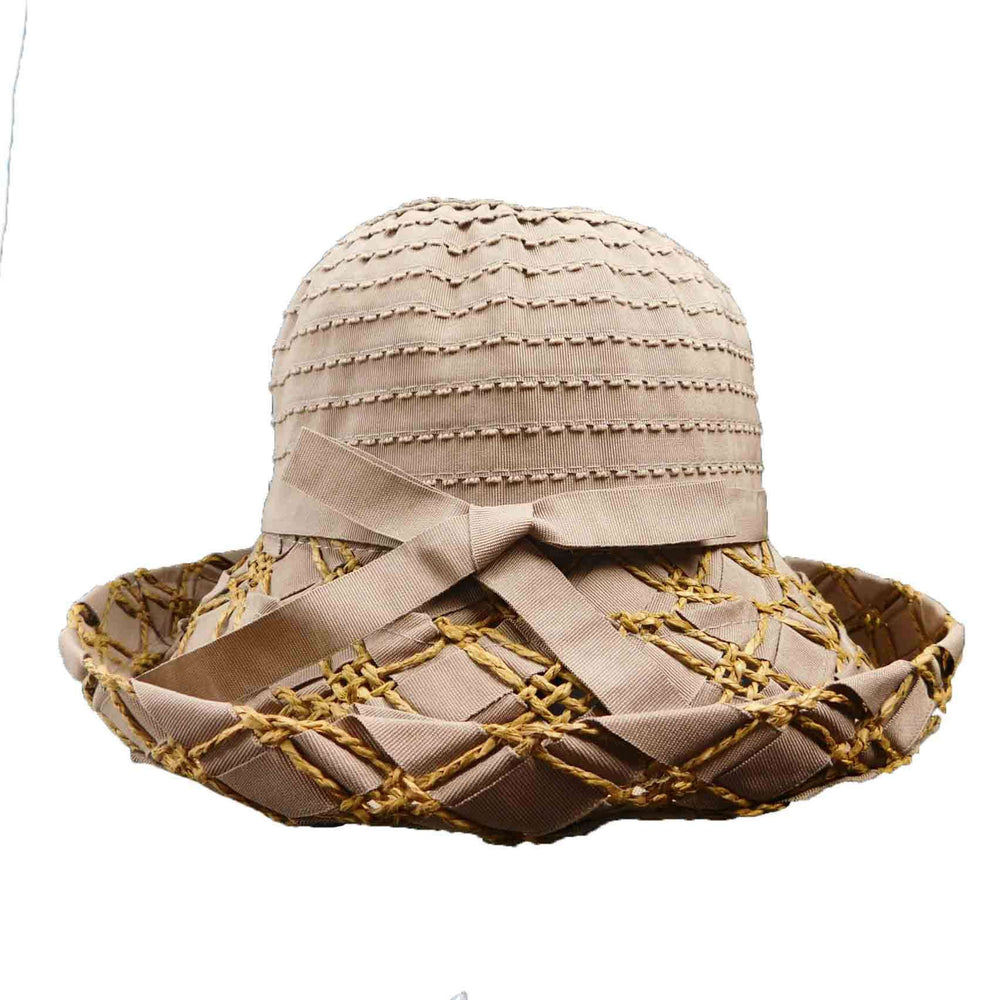 Ribbon Hat with Criss Cross Straw  Kettle Brim - SetarTrading Hats